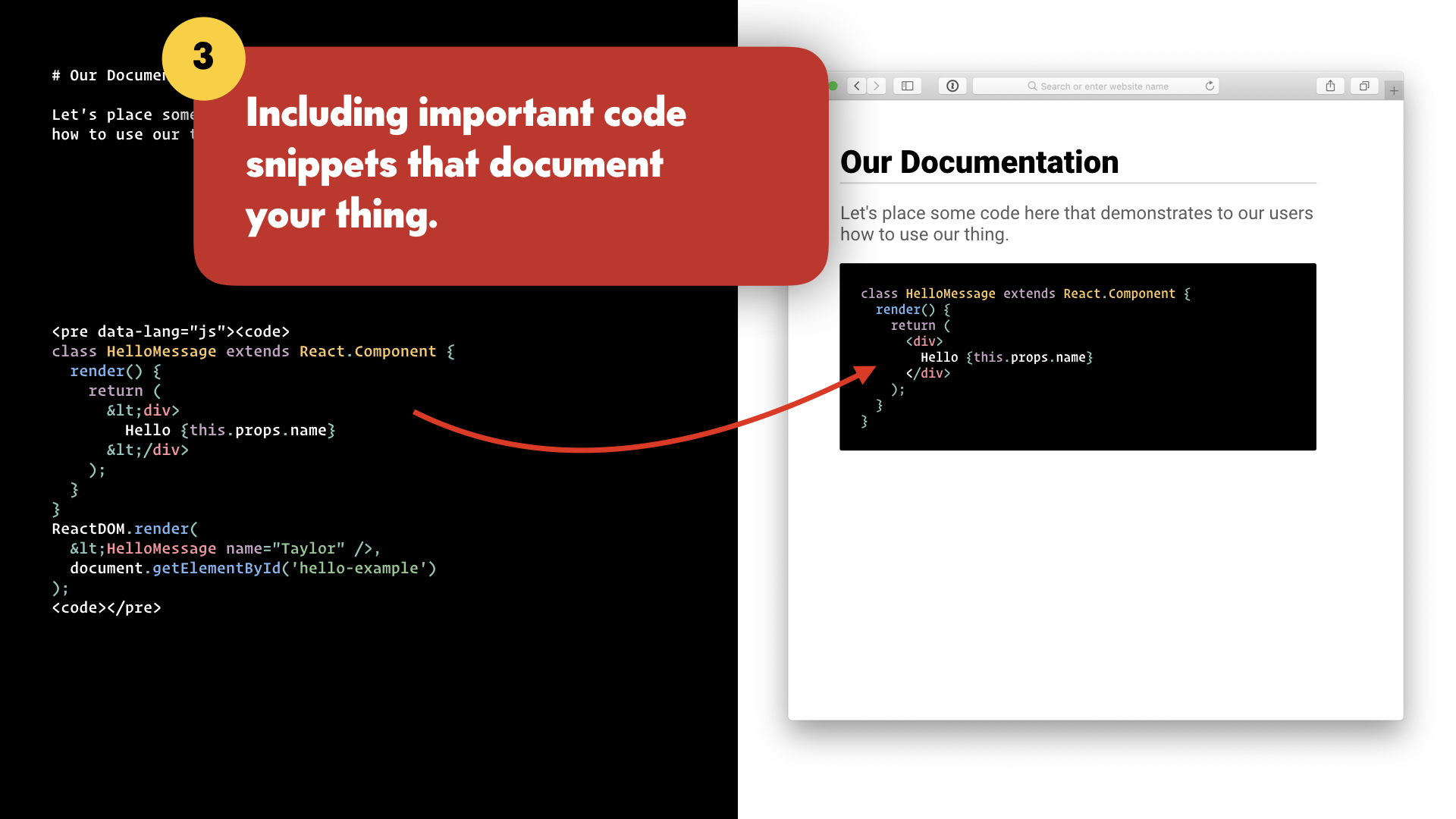 A code snippet is added to the text editor, and is shown in the browser window.