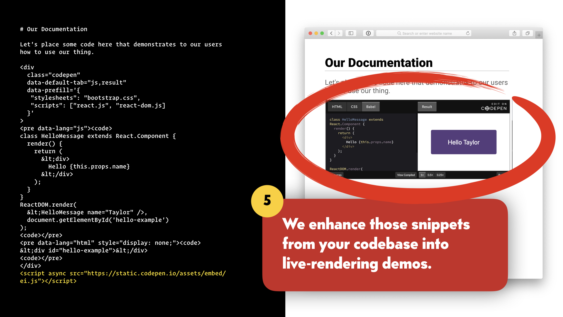 The browser is updated with the CodePen embed.
